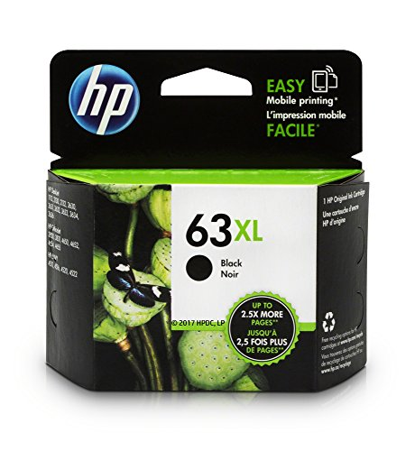 HP 63XL Black High Yield Original Ink Cartridge (F6U64AN) for HP DeskJet 1112, 2130, 2132, 3630, 3631, 3632, 3633, 3634, 3636, 3637, HP ENVY 4511, 4512, 4516, 4520, 4521, 4522, 4524, HP OfficeJet 3830, 3831, 3832, 3833, 4650, 4652, 4654, 4655