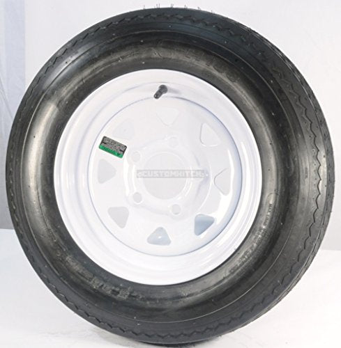"Set of 2 12"" Trailer Tires Rims 530-12 5.30-12 5.30 x 12 LRC 5 Lug/4.5"" Hole Bolt White Spoke Wheel"