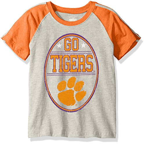 NCAA Boys Raglan Short Sleeve Stripe Tee,Clemson Tigers,Orange,3T