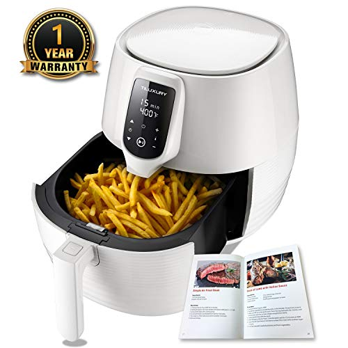 Air Fryer XL, 5.8QT Electric Large Deep Fryer Oil-free Touchscreen Healthy Cooker With Detachable Basket Dishwasher Safe Auto Shut Off, Include 50 Recipes Book, BBQ Rack and Skewers, Pizza Pan, White