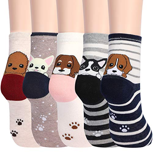 Women's Cute Dog Animal Socks for Teen Girls Soft Funny Funky Gifts Pack of 5 (Puppy)