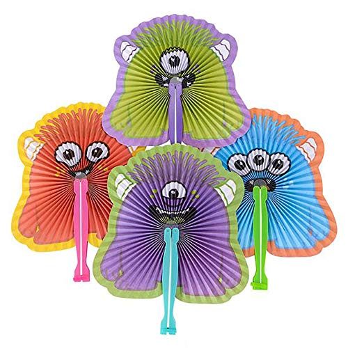 "10"" Folding Monster Paper Fan - 12 Pieces of Accordion Style Assortment - Perfect for Halloween, Festival, Birthday, School Events, Party Favor and Supply"