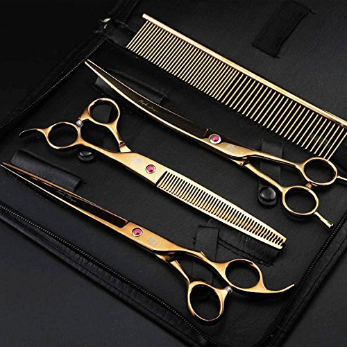 "Pet Grooming Scissors Kit Golden 8"" Professional Dog Hair Cutting Thinning Shears Set Puppy Cat Rabbit Hair Beauty Supplies"