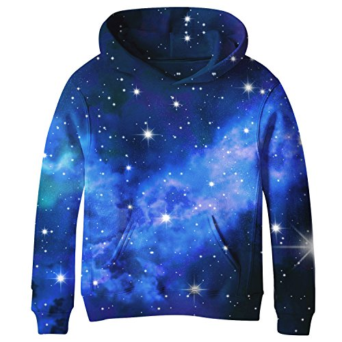 SAYM Teen Boys' Galaxy Fleece Sweatshirts Pocket Pullover Hoodies 4-16Y NO1 S