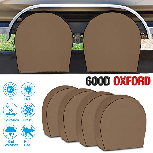 "RVMasking Tire Covers for RV Wheel Set of 4 Heavy Duty 600D Oxford Motorhome Wheel Covers, Waterproof PVC Coating Tire Protectors for Trailer Truck Camper Auto, Fits 26.75""-29"" Tire Diameters"