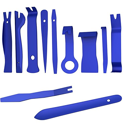CandyHome 11 Pcs Auto Trim Removal Tool Kit, Car Trim Audio Radio Door Panel Removal Pry Tool for Installing and Removing Fasteners, Clips, Trims, Molding (Blue)