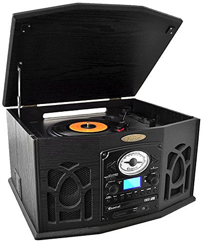Pyle Vintage Turntable - Retro Vinyl Stereo System With Bluetooth, Cassette and CD Player, USB Reader, SD Card and Speakers-Record AM/FM Radio and Audio Files to MP3 with Remote and LCD(PTCDS7UBTB)