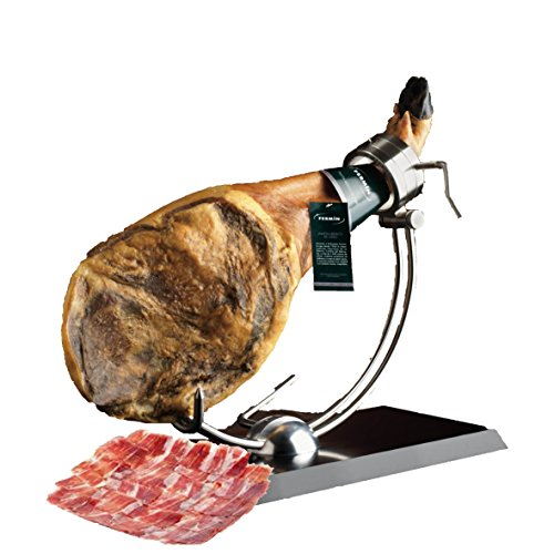 Iberico Ham de Bellota Leg Cured for 24 Months, Between 20-25 Servings, 10-12 lbs from Fermin Plus Ham Holder and Iberico Ham Knife…