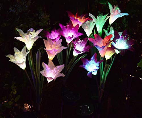 AWJ Products [4 Pack] Solar Lights Outdoor - Solar Garden Lights with 16 Lily Flowers | Color Changing LED Solar Stake Lights for Garden, Patio, Path, Backyard