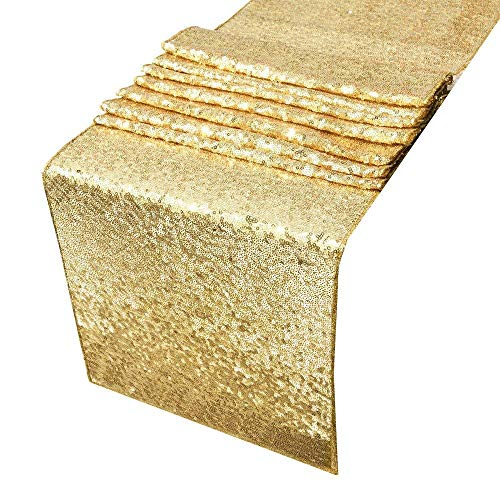 ACRABROS Sequin Table Runners Gold- 12 by 108 Inch Glitter Gold Table Runner-Gold Event Party Supplies Fabric Decorations for Wedding Birthday Baby Shower