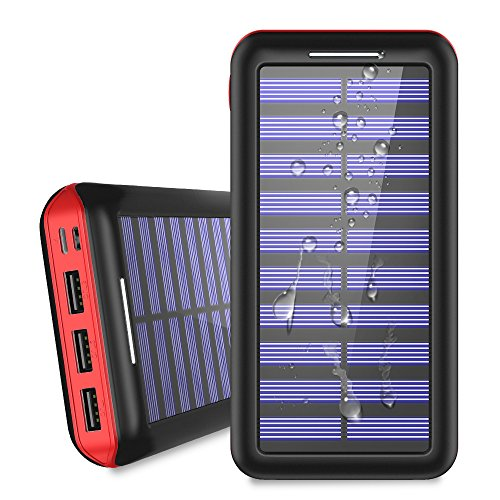 Solar Charger 24000mAh Portable Power Bank, ALLSOLAR External Battery Pack 2 Input 3 Output USB, iSmart 2.0 Tech Fast Charging iPhone,iPad & Samsung Galaxy & More