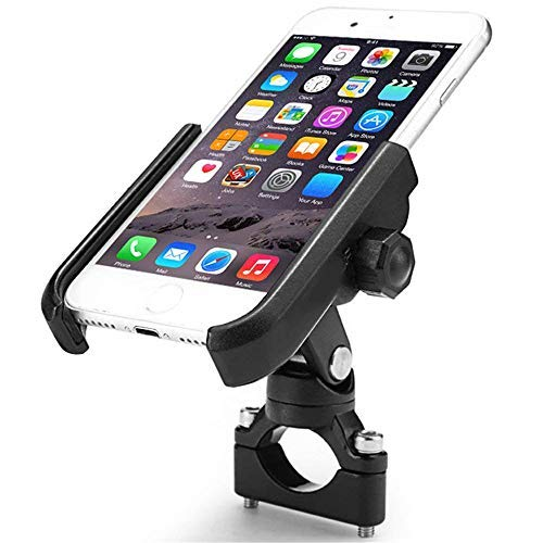 "ILM Bike Motorcycle Phone Mount Aluminum Bicycle Cell Phone Holder Accessories Fits iPhone X Xs, 7 | 7 Plus, 8 | 8 Plus, iPhone 6s | 6s Plus, Galaxy S7, S6, S5, Holds Phones Up to 3.7"" Wide (Black)"