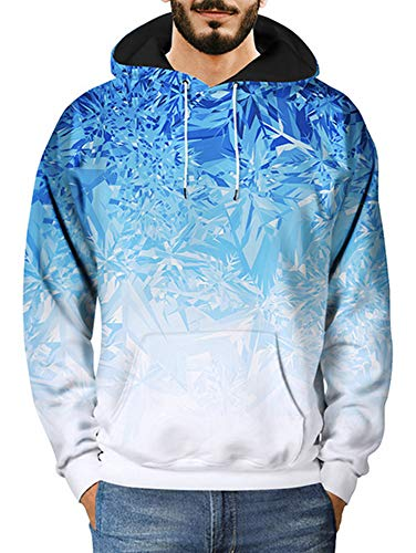 XXTAXN Men 3D Print Pullover Hoodie Sweatshirt with Kangaroo Pocket,Blue Ice Crystal,XX-Large