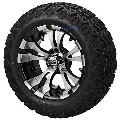 "14"" VAMPIRE Machined/Black Aluminum Wheels and 23x10-14"" DOT All Terrain Golf Cart Tires Combo - Set of 4"