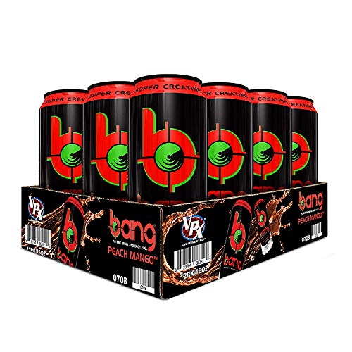 VPX (Vital Pharmaceuticals) Bang Peach Mango Energy Drink - 12 Drinks