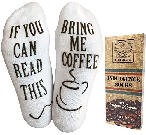 "Luxury Cotton""Bring Me Coffee"" Funny Socks - Perfect Mother's Day Gift for Her, Hilarious Novelty or Gag Gift Idea for Wife or Husband - Best White Elephant Present For Coffee Lover"