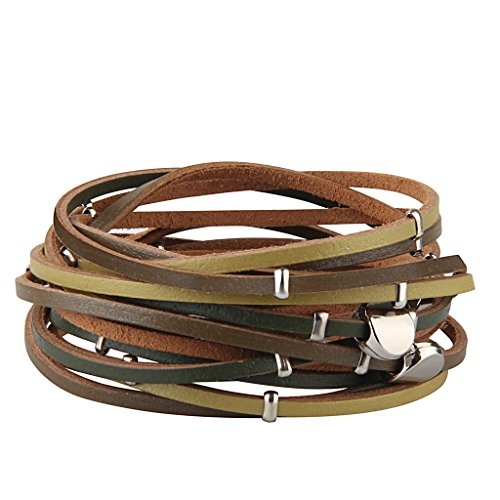 JAOYU Women Leather Wrap Bracelets Bead Bracelets Girls Multilayer Rope Braided Bangle - Handmade Jewelry Gifts