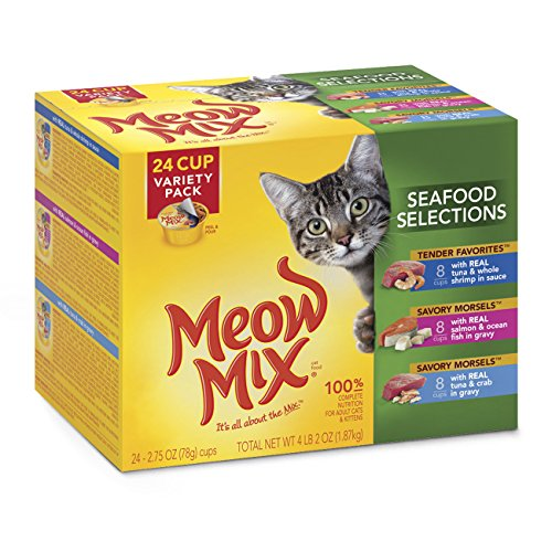 Meow Mix Seafood Selections Variety Pack Wet Cat Food, 2.75-Ounce (Pack Of 24)