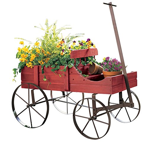 Amish Wagon Decorative Indoor/Outdoor Garden Backyard Planter, Red