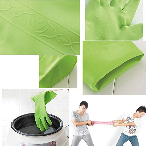 3 Pairs Rubber Cleaning Gloves For Health & Household ,  Kitchen Thickening PU Long Sleeves ,  Non-Slip Grip Waterproof Dishwashing Latex Glove - Prevent Hand Skin , For Car , Window ,  Utensils Large