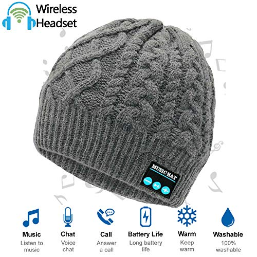 Upgraded Wireless Bluetooth Beanie Hat Headphones V4.2, Outdoor Sports Knit Hat Built-in HD Stereo Speakers & Microphone, Unique Christmas Tech Gifts for Men/Dad/Women/Mom/Teen Boys/Girls