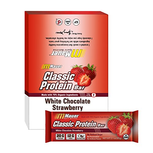 Mauer Sports Nutrition Classic Protein Bars, White Chocolate Strawberry, 12 Count