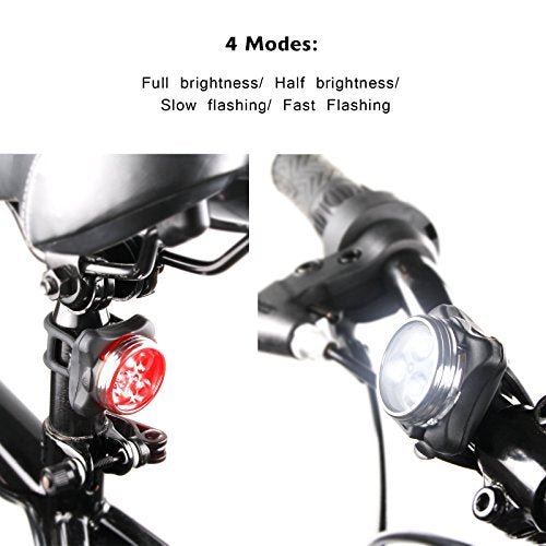 Ascher USB Rechargeable Bike Light Set,Super Bright Front Headlight and Free Rear LED Bicycle Light,650mah Lithium Battery,4 Light Mode Options, Water Resistant IPX4(2 USB cables and 4 Strap Included)