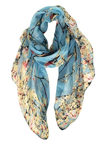 GERINLY - Lightweight Floral Birds Print Shawl Scarf For New Year (Light Blue)