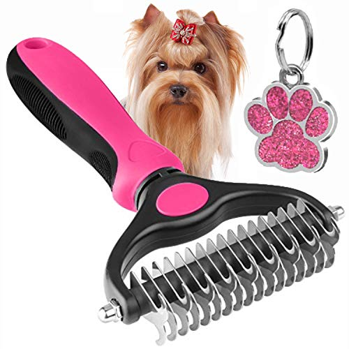 The Bestseller Pet Grooming Comb – Dematting, Deshedding Detangler Tool for Dogs & Cats Dual Head 17 + 9 Teeth Pink