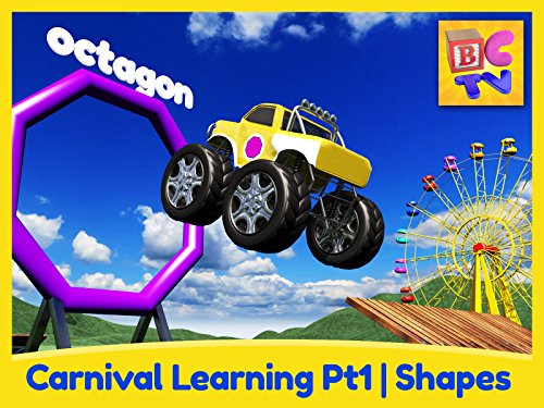 Carnival Learning Pt1 - Learn Shapes with Monster Trucks and a Carnival Game for Kids