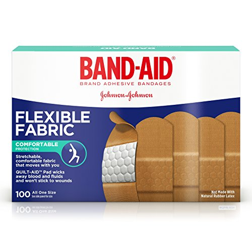 Band-Aid Brand Flexible Fabric Adhesive Bandages for Wound Care and First Aid, All One Size, 100 ct