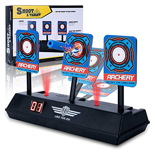 Pickput Electronic Auto Reset Scoring Target, Mini Digital Target with Intelligent Light Sound Effect Target Game for Boys and Girls