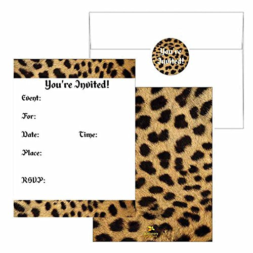 Cheetah Print Invitations - Animal Print Design - Party Supplies - Any Occasion or Event