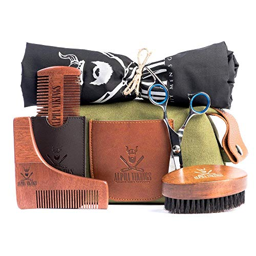 Alpha Vikings - Complete Beard Grooming Kit for Men Care with Canvas Bag - Includes Beard Brush, Wooden Beard Comb with Leather Pouch, Barber Scissors for styling, Beard Apron, Beard Shaper