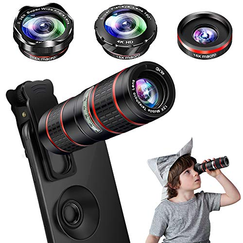 Phone Camera Lens Kit, 5 in 1 Cell Phone Lens - 12X Zoom Telephoto Lens + 0.36X Wide Angle Lens + 180°Fisheye Lens + 15X Macro Lens(2pcs) Compatible with iPhone XS XR X/8/7/6s Plus Android Smartphones