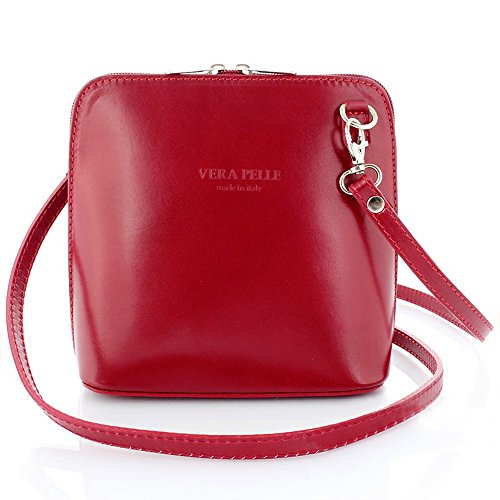Ann Tarry Color Splash Collection Genuine Leather Shoulder Crossbody Bag Made in Italy (Red)