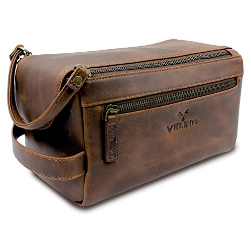 Velino Handmade Genuine Buffalo Leather Unisex Toiletry Bag Travel Dopp Kit Grooming and Shaving Kit ~ Gift for Men Women ~ Hanging Zippered Cosmetic Pouch ~ Bathroom Makeup Case