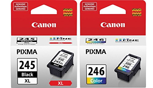 Genuine Canon PG-245 XL High Capacity Black Ink Cartridge (8278B001) + Canon CL-246 Color Ink Cartridge (8281B001)