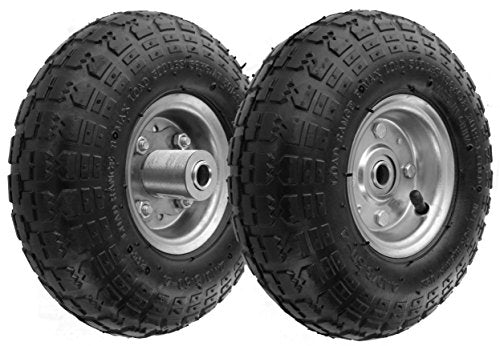 "RamPro 10"" All Purpose Utility Air Tires/Wheels with a 5/8"" Diameter Hole with Double Sealed Bearings (Pack of 2)"