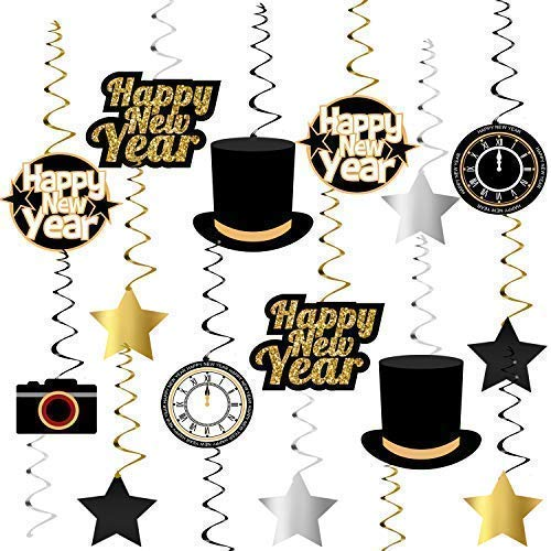 Happy New Year Hanging Swirls – Pack of 33 | New Years Eve Party Supplies 2019 | New Year Party Decorations 2019 | Great for New Years Party Decoration 2019 | Hollywood Oscar NYE Decorations 2019