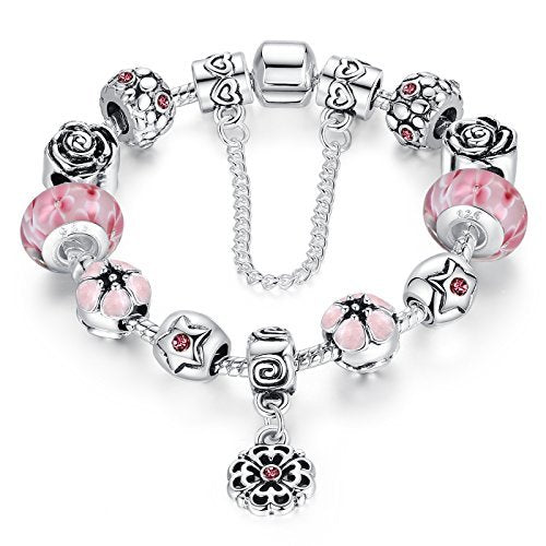 Presentski Fashion Charm Bracelet for Teen Girls and Women with Safe Chain Flower Themed Pink Charms 7.1 Inches