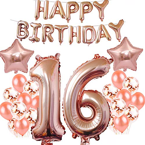 16th Birthday Decorations Party Supplies, Jumbo Rose Gold Foil Balloons for Birthday Party Supplies,Anniversary Events Decorations and Graduation Decorations Sweet 16 Party,16th Anniversary