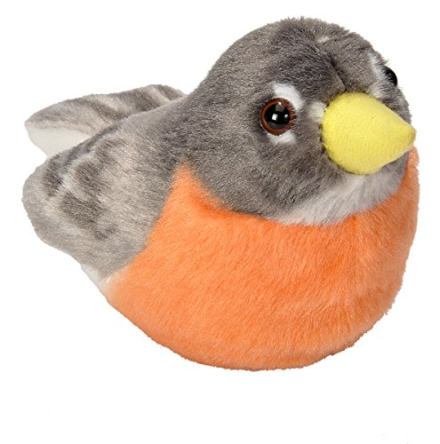 Wild Republic Audubon Birds Plush Authentic Bird Sound, Stuffed Animal, Bird Toys Kids, American Robin