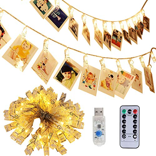 40 LED Photo Clip Lights, Adecorty Photo Clips String Lights USB Powered Fairy Lights with Clips Remote & Timer, Hanging Lights for Christmas Cards Pictures Holder, Teen Girl Gifts for Bedroom Decor