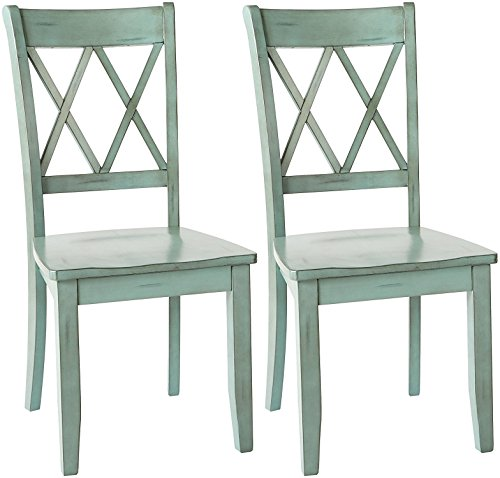 Ashley Furniture Signature Design - Mestler Dining Room Side Chair - Wood Seat - Set of 2 - Antique Blue