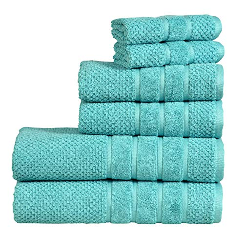 Bed Bath Fashions Fade-Resistant 100% Cotton 6-Piece Towel Set, Hotel Quality Bath Hand Wash Towels, Luxury Super Soft and Highly Absorbent Bathroom Towels (Aqua)