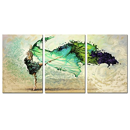 DZL Art A70346 Canvas Wall Art Abstract Watercolour Dancers Painting Prints on Canvas Framed Ready to Hang-3 Panels Fine Art for Home Decor