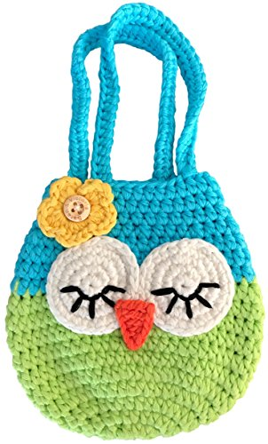 Sarah & Victoria Sleepy Owl Mini Purse, for Age 3, 4, 5 Year Old Girls Gifts, Sweet Blue & Green Little Handbag, Handmade Crochet, Soft Yarn Wristlet, Dress-Up & Play, So Cute!
