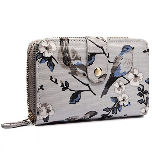 Miss Lulu Women Flower Bird Horse Purse Oilcloth Short Bifold Wallet Clutch Bag (1580-16J Grey)