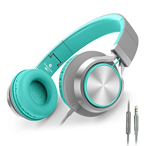 AILIHEN C8 Headphones with Microphone and Volume Control Folding Lightweight Headset for Cellphones Tablets Smartphones Laptop Computer PC Mp3/4 (Grey/Mint)